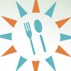 Clipart image of a sun with a fork and spoon