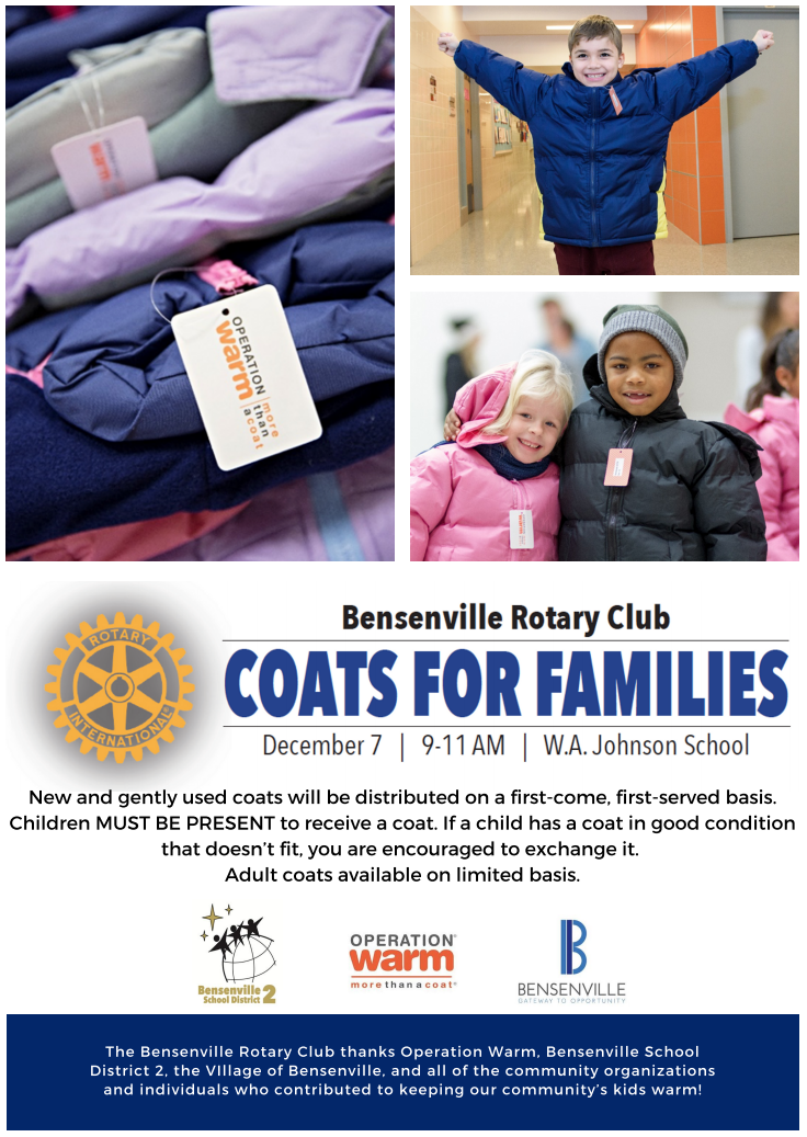 Image of Bensenville Rotary's Coats for Families Flyer