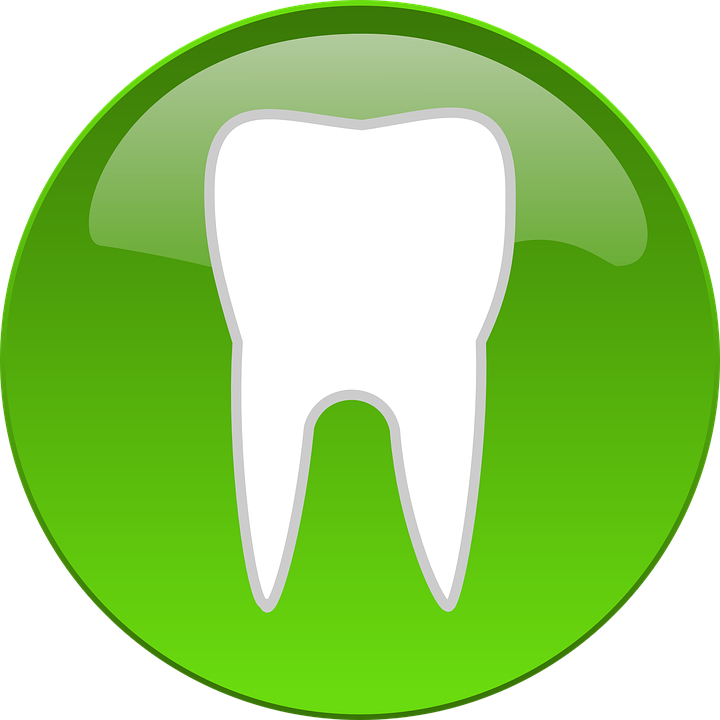 Clipart image of a white tooth on a circular green background